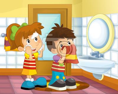Cartoon Kinder Im Bad Madchen Und Jungen Waschen Gesicht Und Fototapete Fototapeten Den Abwasch Machen Freizeit Handtuch Myloview De
