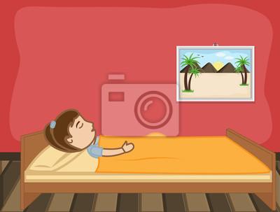Cartoon Kleine Madchen Schlafen Auf Bett Fototapete Fototapeten