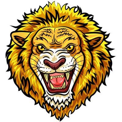 Fototapete Cartoon Kopf wütend Löwenmaskottchen