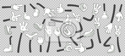 Fototapete Cartoon legs and hands. Legs in boots and gloved hands. Vector isolated illustration set