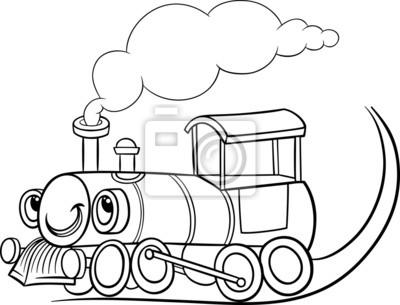 Cartoon-lokomotive oder motor malvorlagen fototapete • fototapeten ...