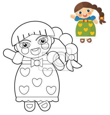 Cartoon mädchen - puppe - malvorlagen für kinder mit vorschau ...