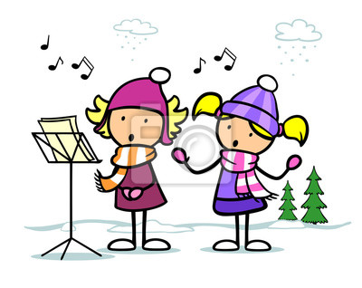 Chöre Singen Weihnachtslieder.Fototapete Cartoon Mädchen Singen Weihnachtslieder