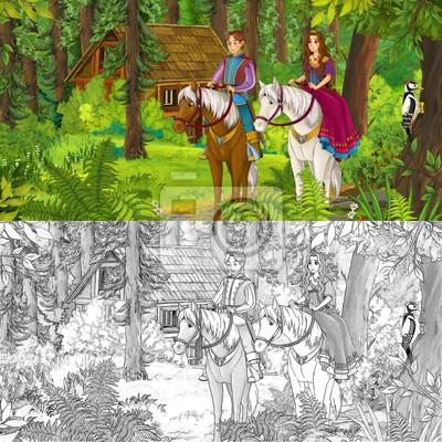 Fototapete Cartoon Mädchen Und Jungen Reiten Auf Einem Weißen Pferd Prinzessin