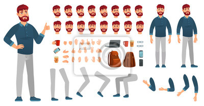 Fototapete Cartoon male character kit. Man in casual clothing, different hands, legs poses and facial emotion. Characters constructor vector set