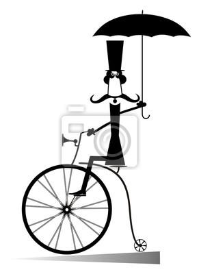 Cartoon Mann Fahrt Ein Fahrrad Gentleman Mit Schnurrbart Hut