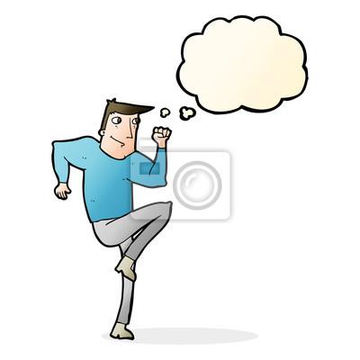 Cartoon Mann Joggen Auf Stelle Mit Gedankenblase Fototapete