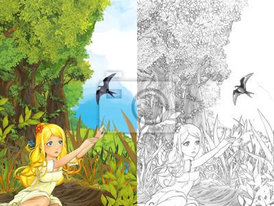Cartoon Märchen Szene Mit Einem Kleinen Mädchen Auf Der