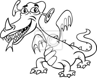 cartoon monster oder drachen zum ausmalen fototapete fototapeten drehgestell missgeburt farben myloview de fototapete cartoon monster oder drachen zum ausmalen