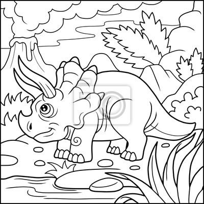Cartoon niedlichen triceratops färbung buch fototapete • fototapeten ...