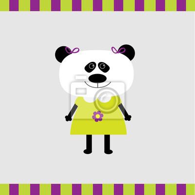 Cartoon Panda-Mädchen-Karte