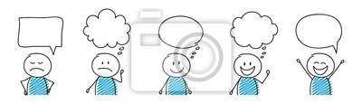 Fototapete Cartoon people with empty speech bubbles - set. Vector