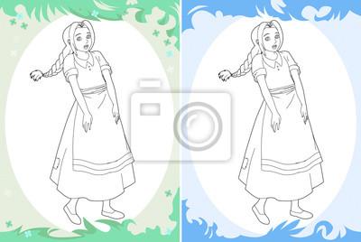 Cartoon Prinzessin Malvorlage Zwei Versionen Bild Für