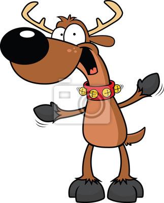 Cartoon Reindeer Excited Fototapete Fototapeten Geweih Rentiere
