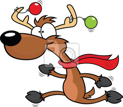 Cartoon Reindeer Running Fototapete Fototapeten Joggen Sprint
