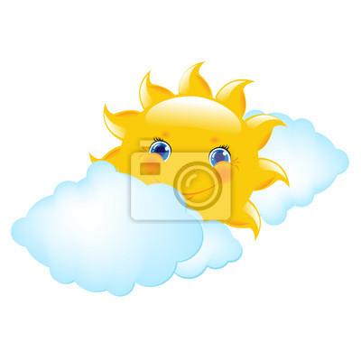 Cartoon Sonne und Wolken