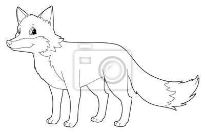 Cartoon Tier Fuchs Isoliert Malvorlage Illustration Für