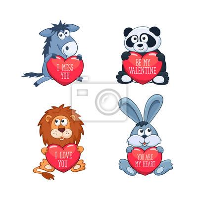 Cartoon Tiere Mit Herzen Valentinstag Grusskarte Ich Liebe Dich