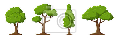 Fototapete Cartoon trees set isolated on a white background. Simple modern style. Cute green plants, forest. Can be used to illustrate any nature or healthy lifestyle topic. Flat style vector illustration.