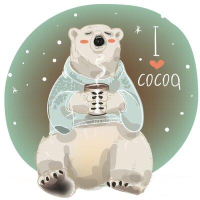 Fototapete Cartoon weißer Bär mit Tasse heißen Getränk