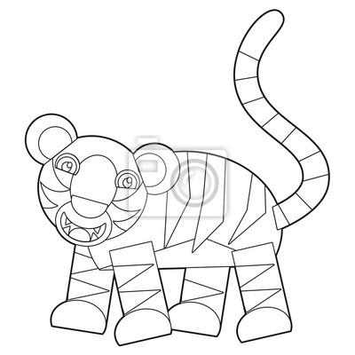 Cartoon wildes tier - malvorlagen für die kinder fototapete ...