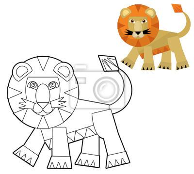 Cartoon wildes tier - malvorlagen für kinder mit vorschau fototapete ...