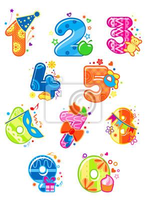 Cartoon Ziffern und Zahlen mit Spielzeug