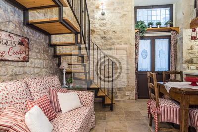 Casa con soppalco con kamera da letto, soggiorno e cucina fototapete ...