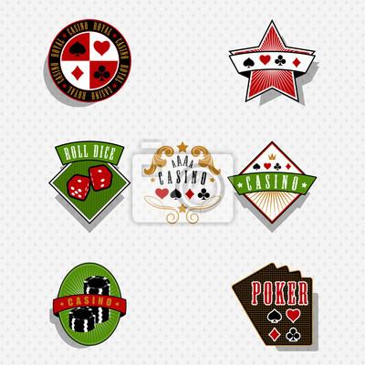 Casino and gambling labels and symbols