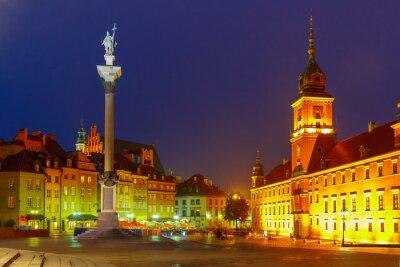 Fototapete Castle Square in der Nacht in Warschau, Polen.