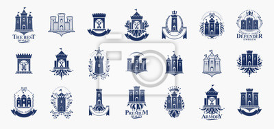 Fototapete Castles logos big vector set, vintage heraldic fortresses emblems collection, classic style heraldry design elements, ancient forts and citadels.