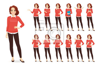 Fototapete Casual business woman character in different poses set with red hair vector illustration