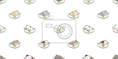 Fototapete cat breed isolated box calico kitten seamless pattern vector wallpaper background backdrop