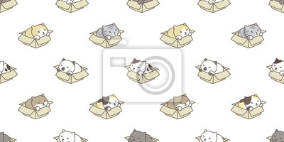Fototapete cat breed seamless pattern isolated box calico kitten wallpaper vector background