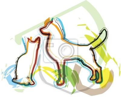 Cat & Dog Illustration