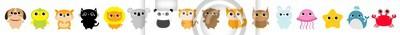 Cat Dog Koala Parrot Hamster Lion Panda Tiger Bear Fox Owl Rabbit Whale Jellyfish Crab Starfish icon set. Cute cartoon kawaii funny baby character. Flat design. Kids print. White background. Isolated.