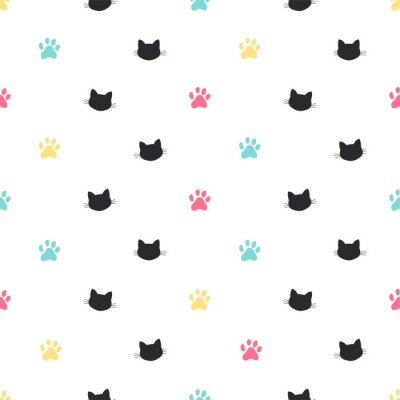 Fototapete cat paw track vector seamless pattern