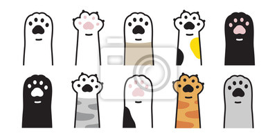 Fototapete cat paw vector icon calico kitten footprint logo character cartoon ginger doodle illustration sign