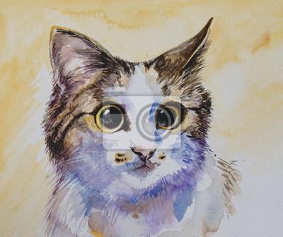 Cat portrait Aquarell gemalt.