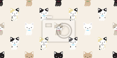 Fototapete cat seamless pattern cat breed calico vector isolated wallpaper background