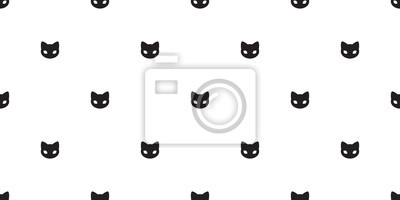Fototapete cat seamless pattern cat head vector isolated wallpaper background yellow