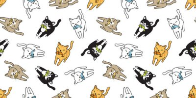 Fototapete cat Seamless pattern vector kitten calico fish salmon cartoon scarf isolated tile background repeat wallpaper doodle illustration