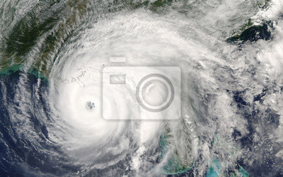 Fototapete Category 5 super typhoon from outer space view. The eye of the hurricane. Some elements of this image furnished by NASA