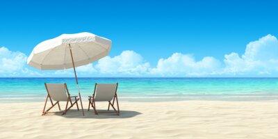 Fototapete Chaise Lounge und Sonnenschirm am Sandstrand.