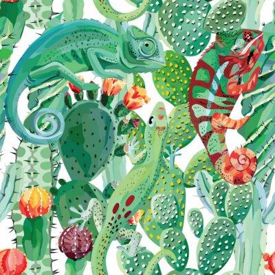 Fototapete Chamäleon und Kaktus nahtlose Hintergrund