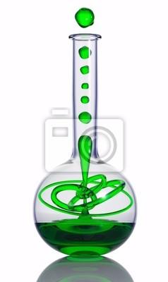 Fototapete Chemische Reaktion in einem Kolben. 3d