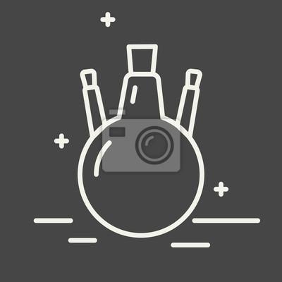 Chemische runde boden flasche vektor zeile symbol. chemische ...