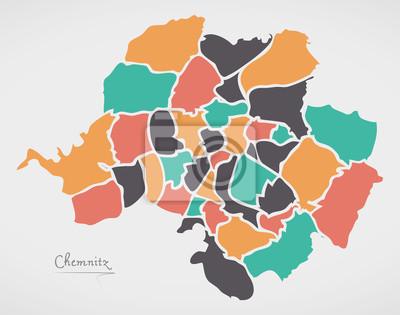 Karte Chemnitz.Fototapete Chemnitz Karte Mit Bezirken Und Modernen Runden Formen