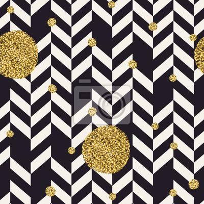 Chevron schwarzes Muster und goldene chaotische Punkte. Nahtlose Muster Design Hintergrund.