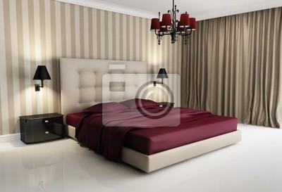 Kronleuchter Für Schlafzimmer ~ Chic luxus hotel biege rot schlafzimmer mit kronleuchter